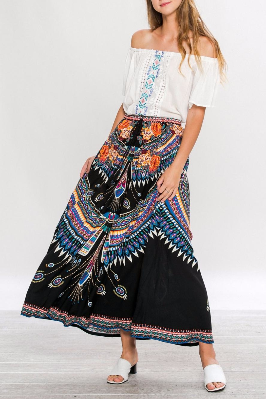 Flying Tomato Tribal Black Maxi-Skirt - Front Cropped Image