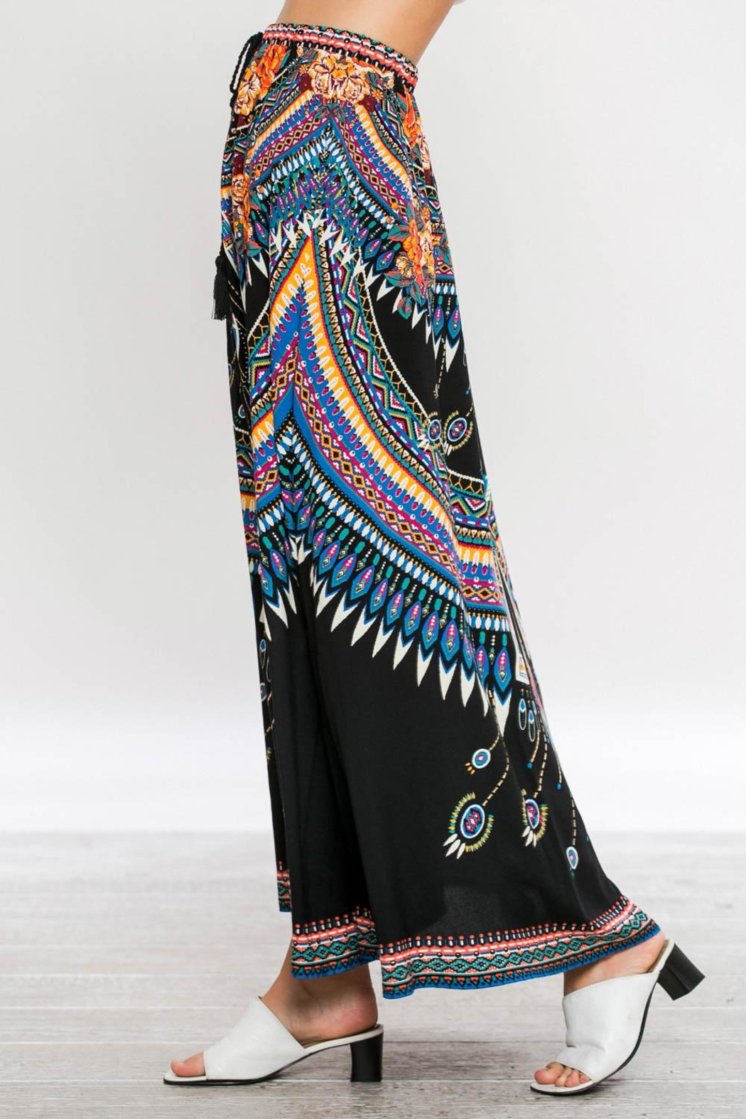 Flying Tomato Tribal Black Maxi-Skirt - Side Cropped Image