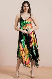 Flying Tomato Tropical Print Handkerchief Midi Dress - Product Mini Image