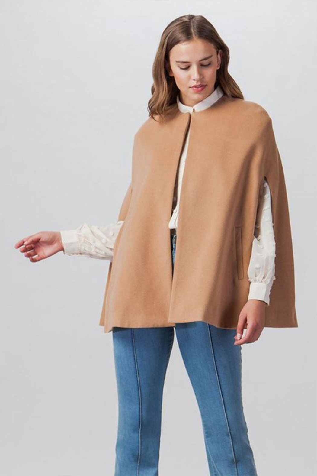Flying Tomato Woven Cape Jacket - Front Cropped Image