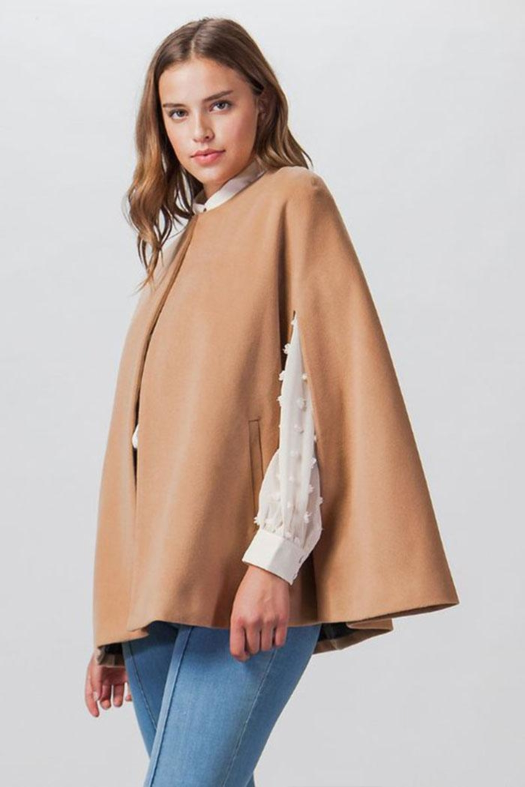 Flying Tomato Woven Cape Jacket - Side Cropped Image
