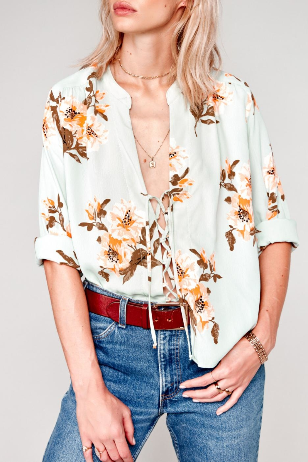 Flynn Skye Floral Chiffon Blouse - Front Cropped Image