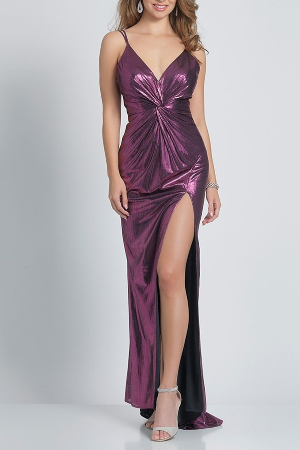 Dave and Johnny Foil Gathered Slip Gown W/ Slit - Main Image