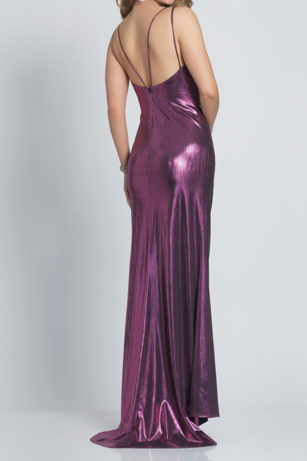 Dave and Johnny Foil Gathered Slip Gown W/ Slit - Front Full Image