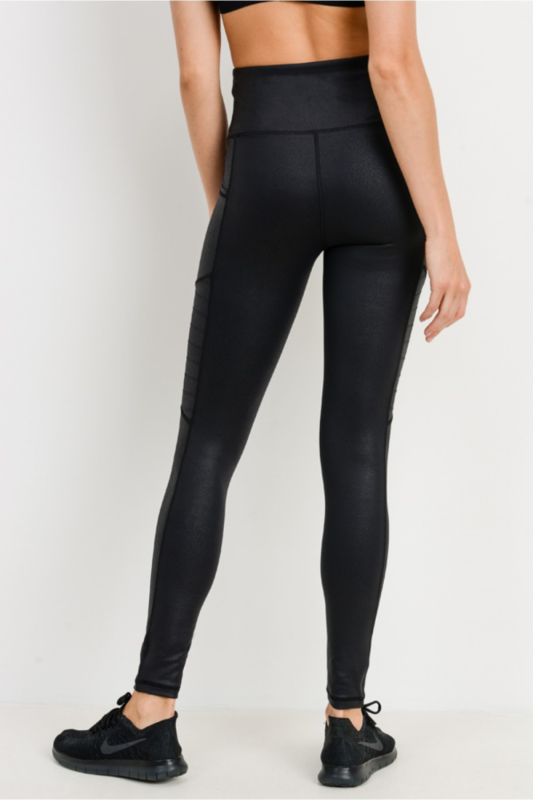 Mono B Foil Moto Hi Waist Leggings - Side Cropped Image