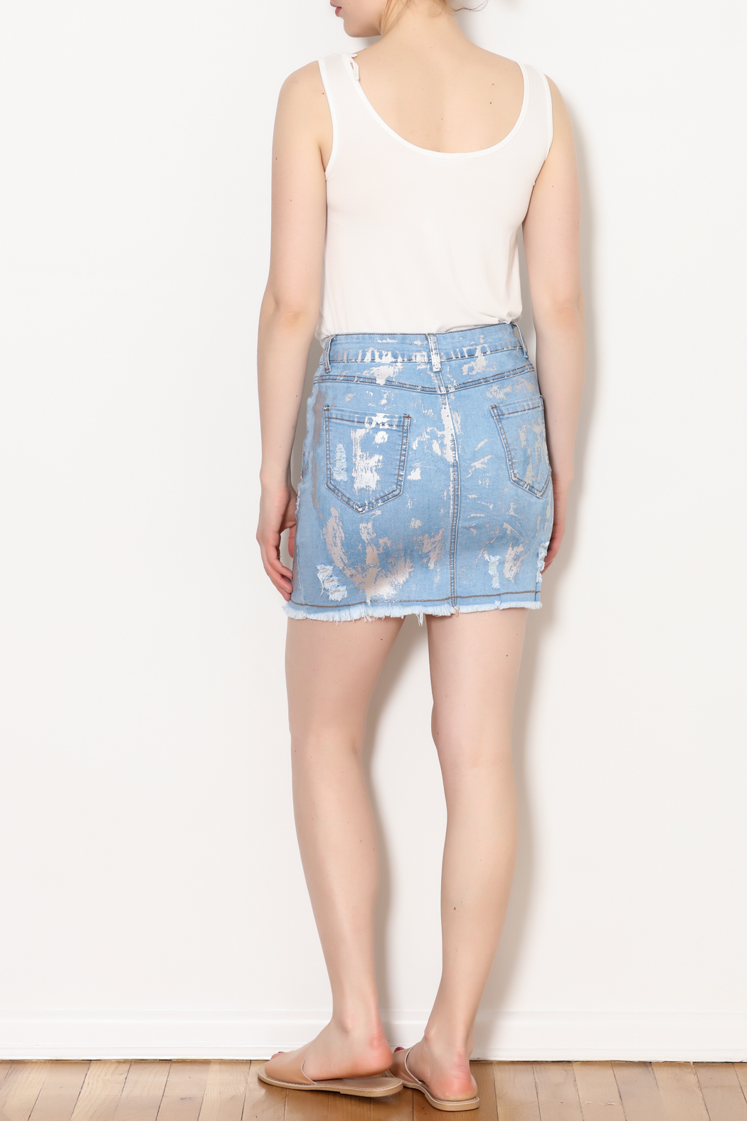 Hot & Delicious Foil Paint Skirt - Side Cropped Image