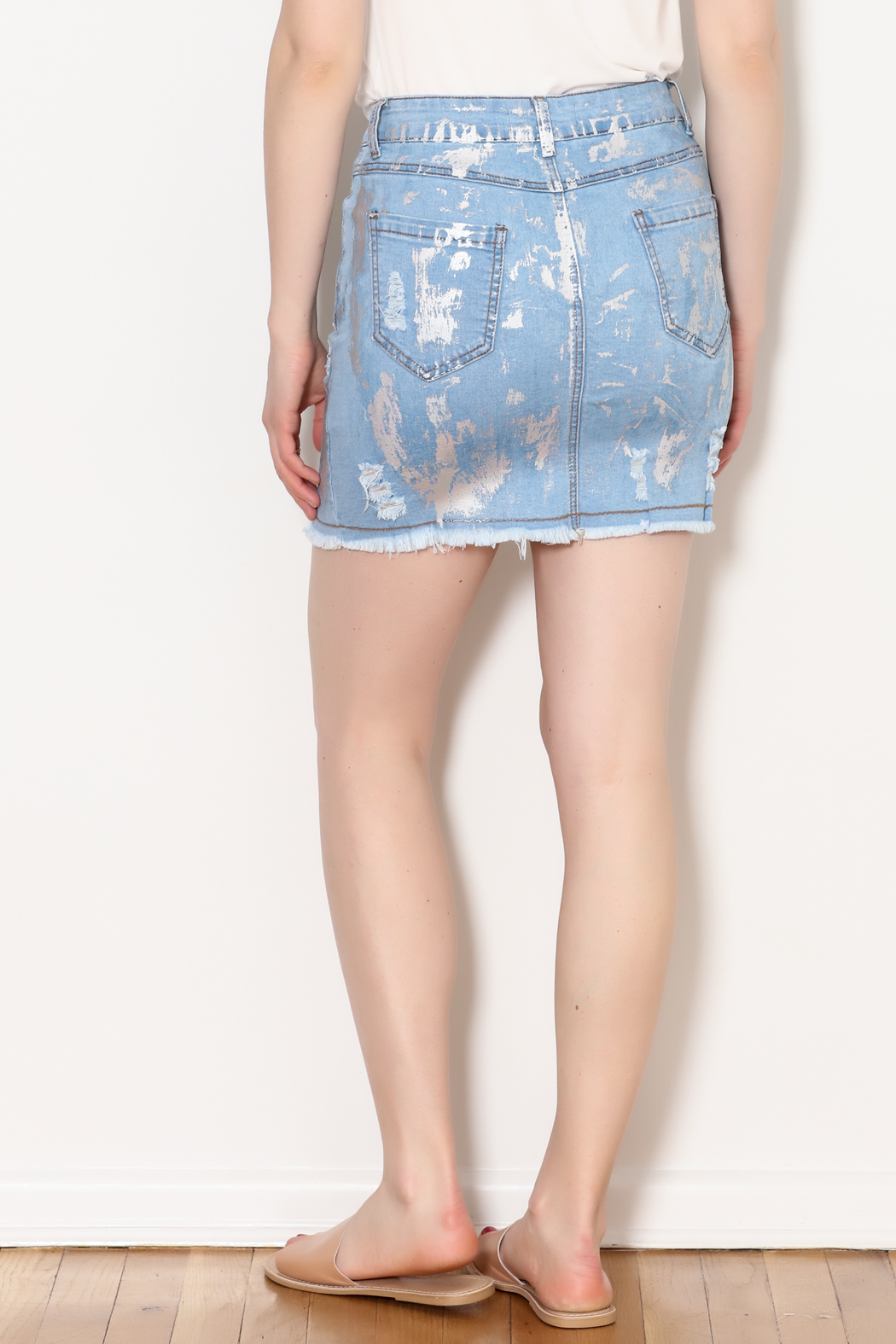 Hot & Delicious Foil Paint Skirt - Back Cropped Image