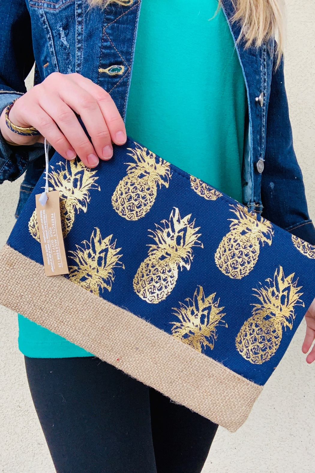 Caroline Hill Foil Pineapple Pouch - Front Cropped Image