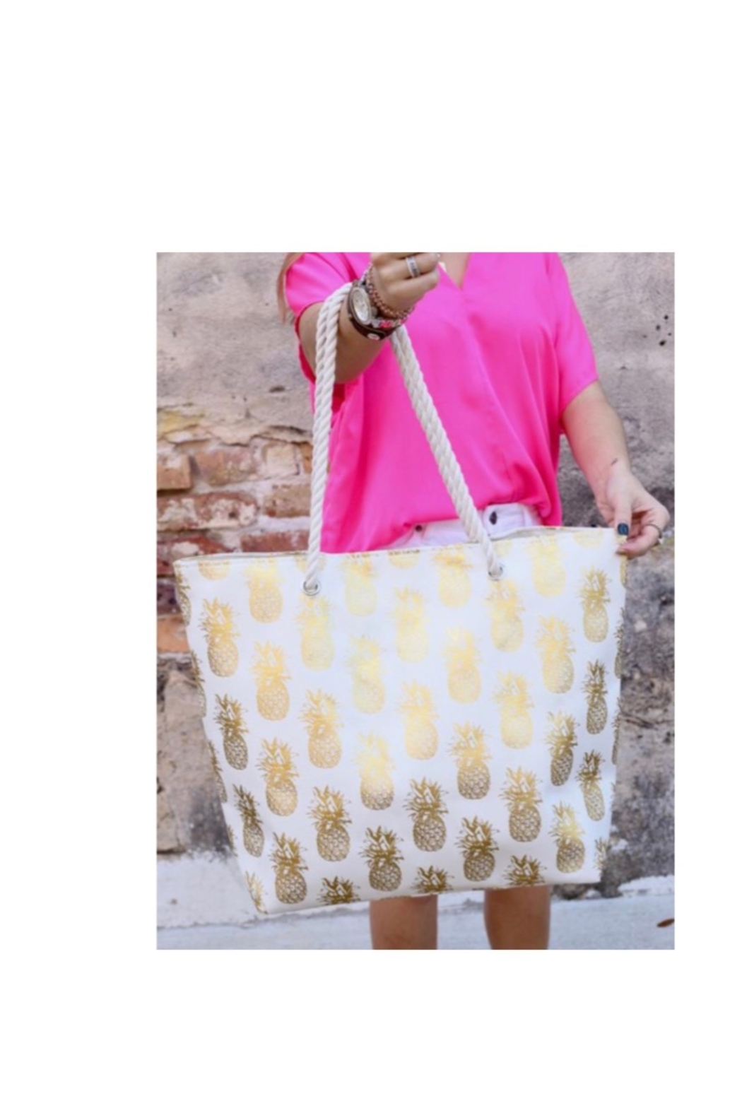 Caroline Hill Foil Pineapple Tote Bag With Rope Handles - Main Image