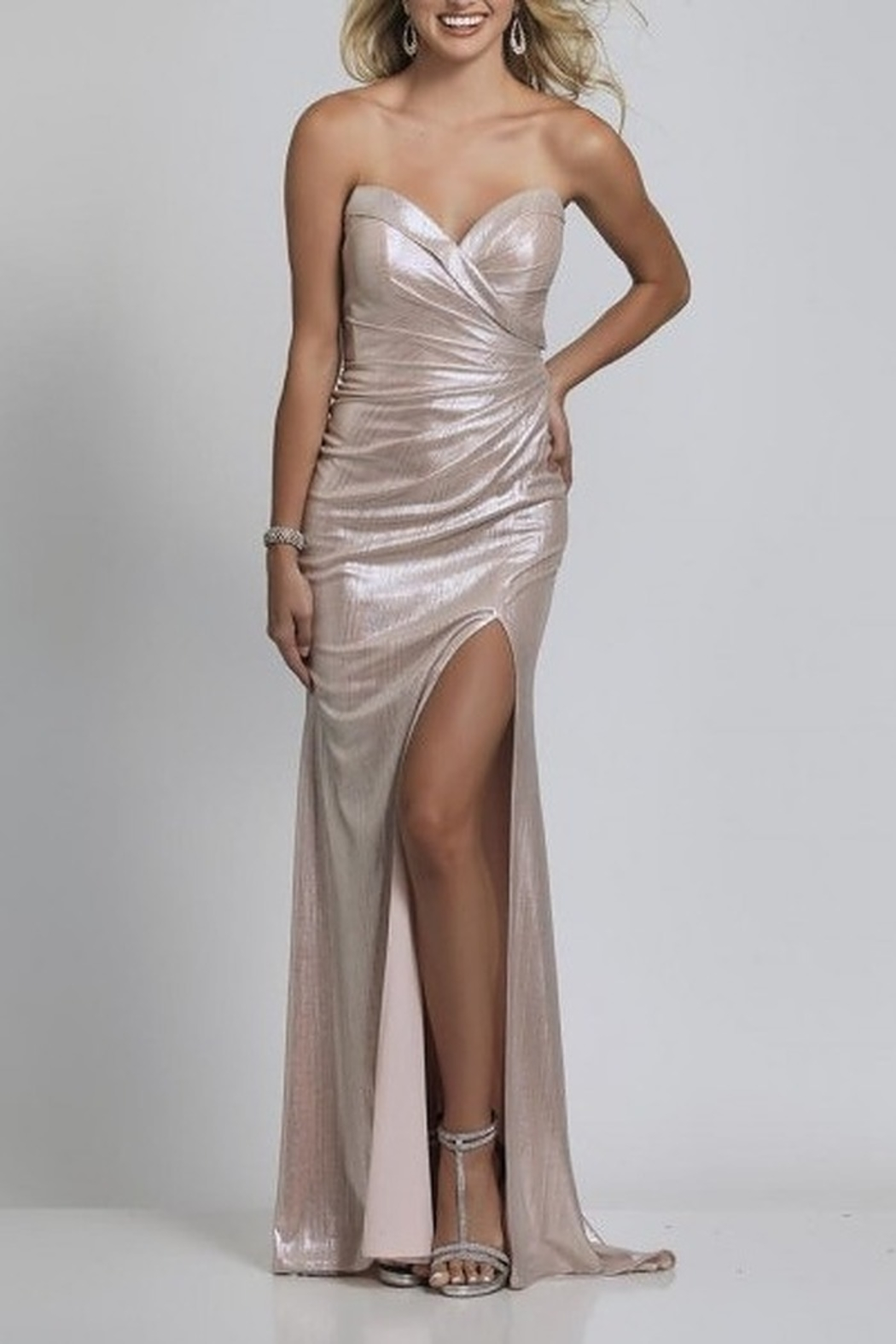Dave and Johnny Foil Wrap Sweetheart Open Back Gown - Main Image