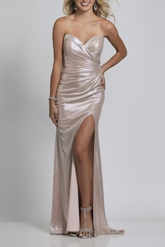 Dave and Johnny Foil Wrap Sweetheart Open Back Gown - Product List Image