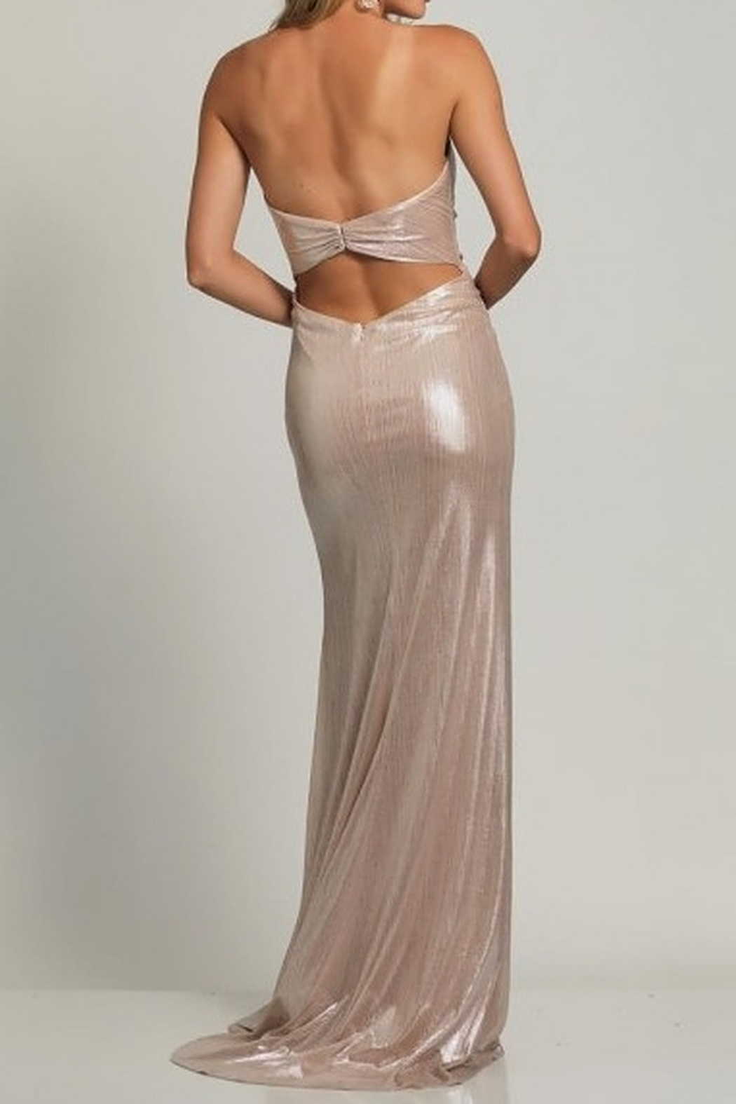 Dave and Johnny Foil Wrap Sweetheart Open Back Gown - Front Full Image