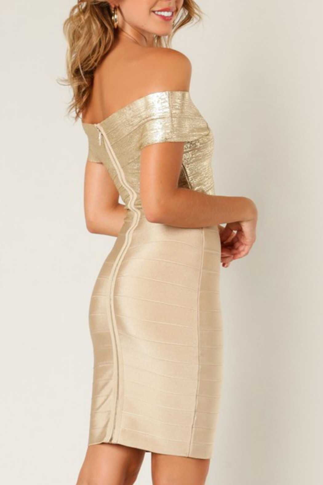 Wow Couture Foiled Bandage Dress - Side Cropped Image