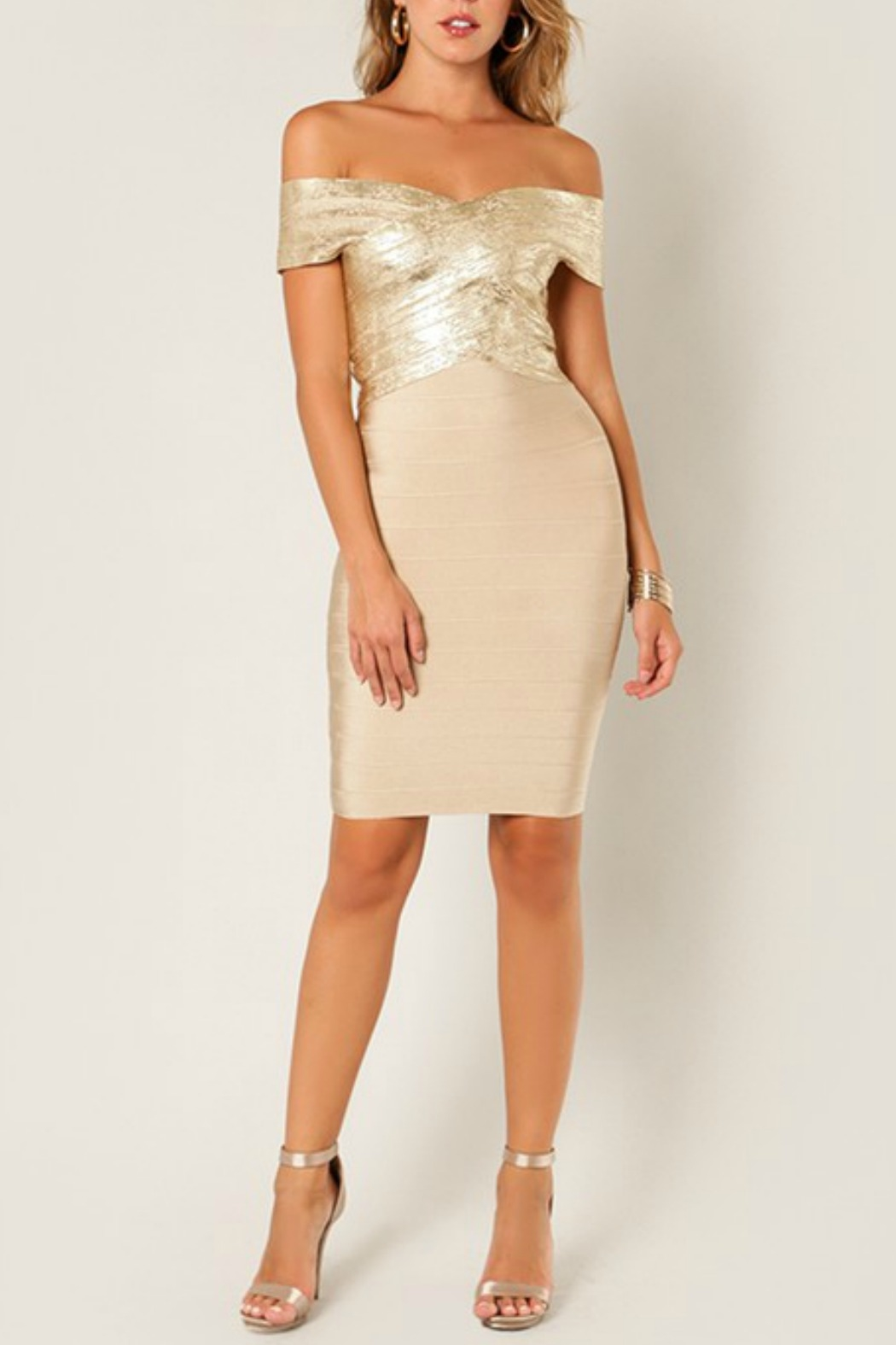 Wow Couture Foiled Bandage Dress - Back Cropped Image