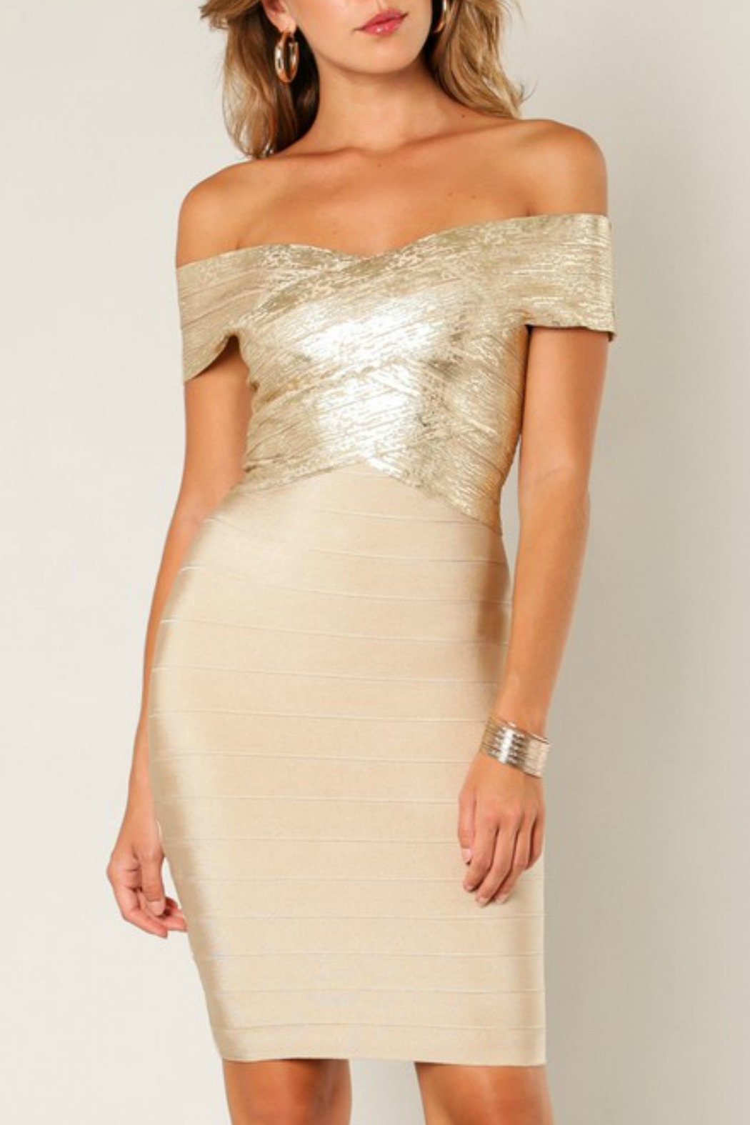 Wow Couture Foiled Bandage Dress - Main Image