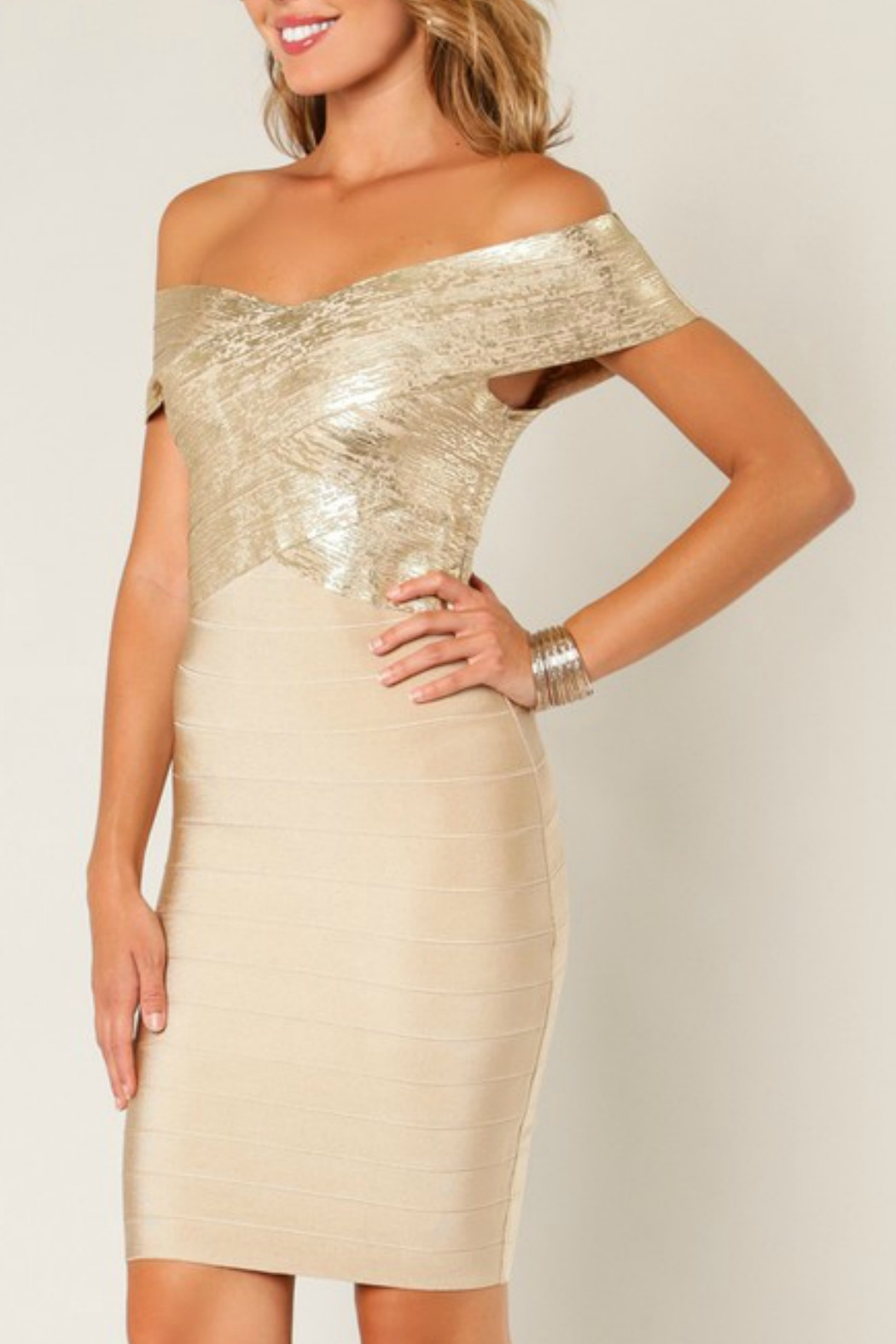 Wow Couture Foiled Bandage Dress - Front Full Image
