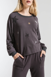 z supply Foiled Star Cropped Pullover - Front cropped