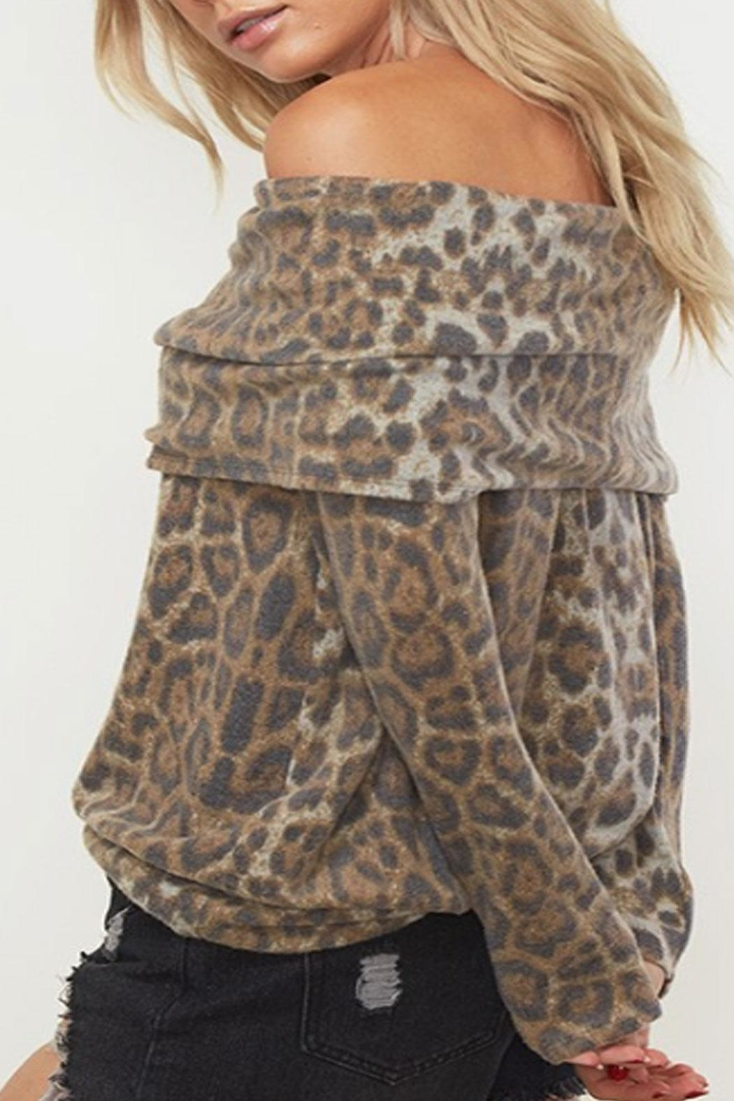 Fantastic Fawn Fold-Over Leopard Top - Front Full Image