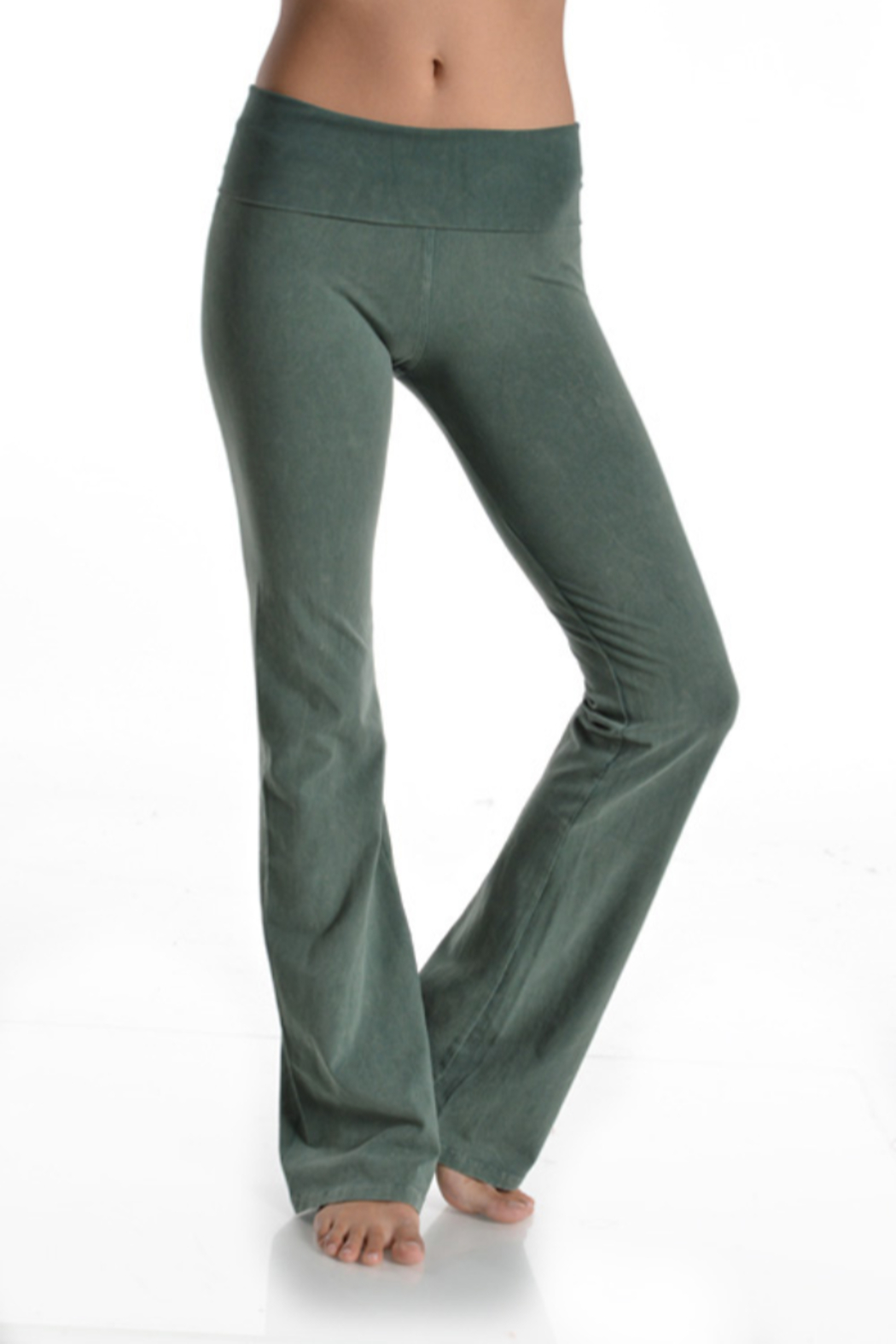 T-Party  Fold Over Mineral Wash Yoga Pant - Front Cropped Image