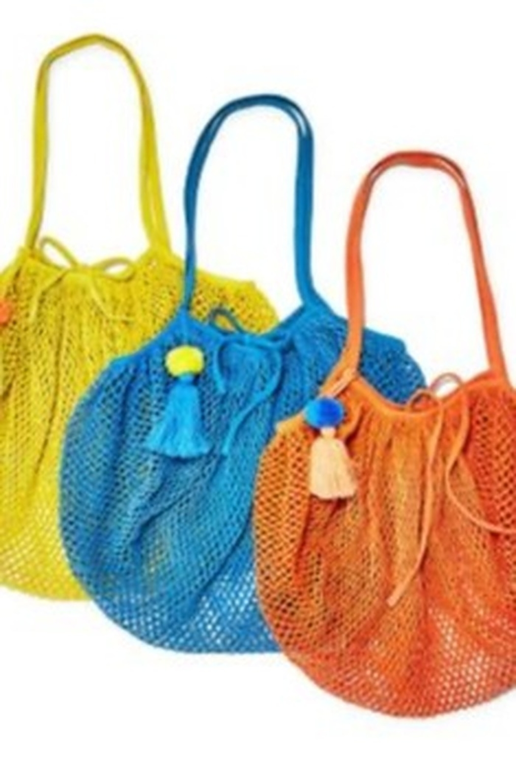 Two's Company Foldable String Shopper with Pom Pom Tassle - Main Image