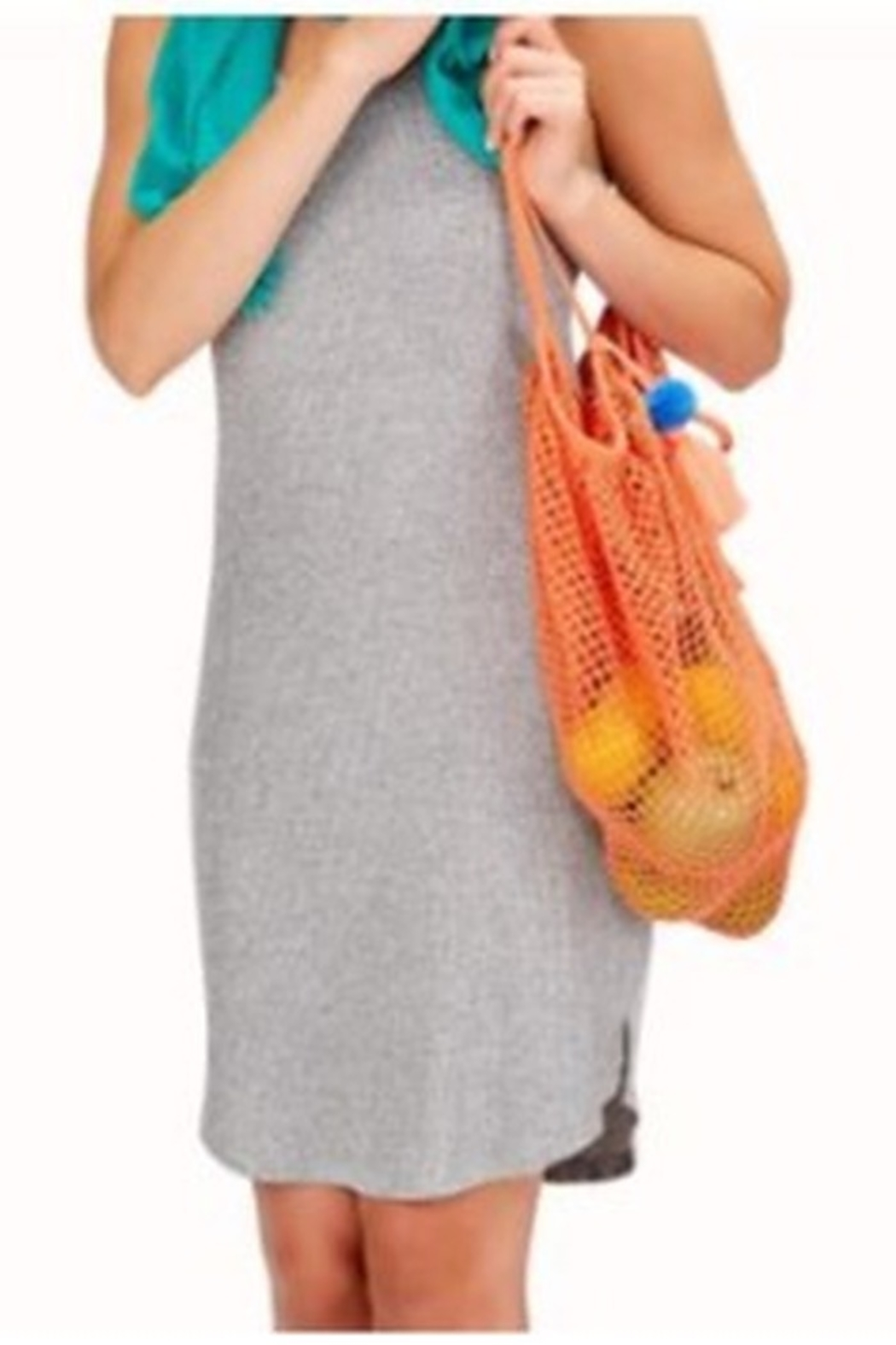 Two's Company Foldable String Shopper with Pom Pom Tassle - Front Cropped Image