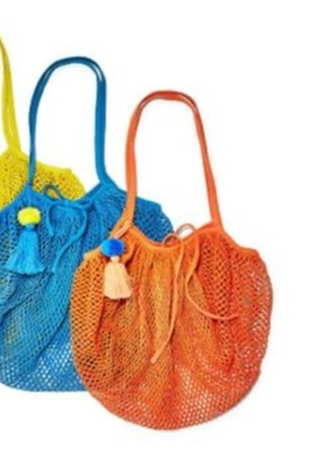 Two's Company Foldable String Shopper with Pom Pom Tassle - Front Full Image