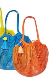 Two's Company Foldable String Shopper with Pom Pom Tassle - Front full body