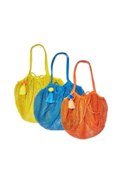 Two's Company Foldable String Shopper with Pom Pom Tassle - Front cropped