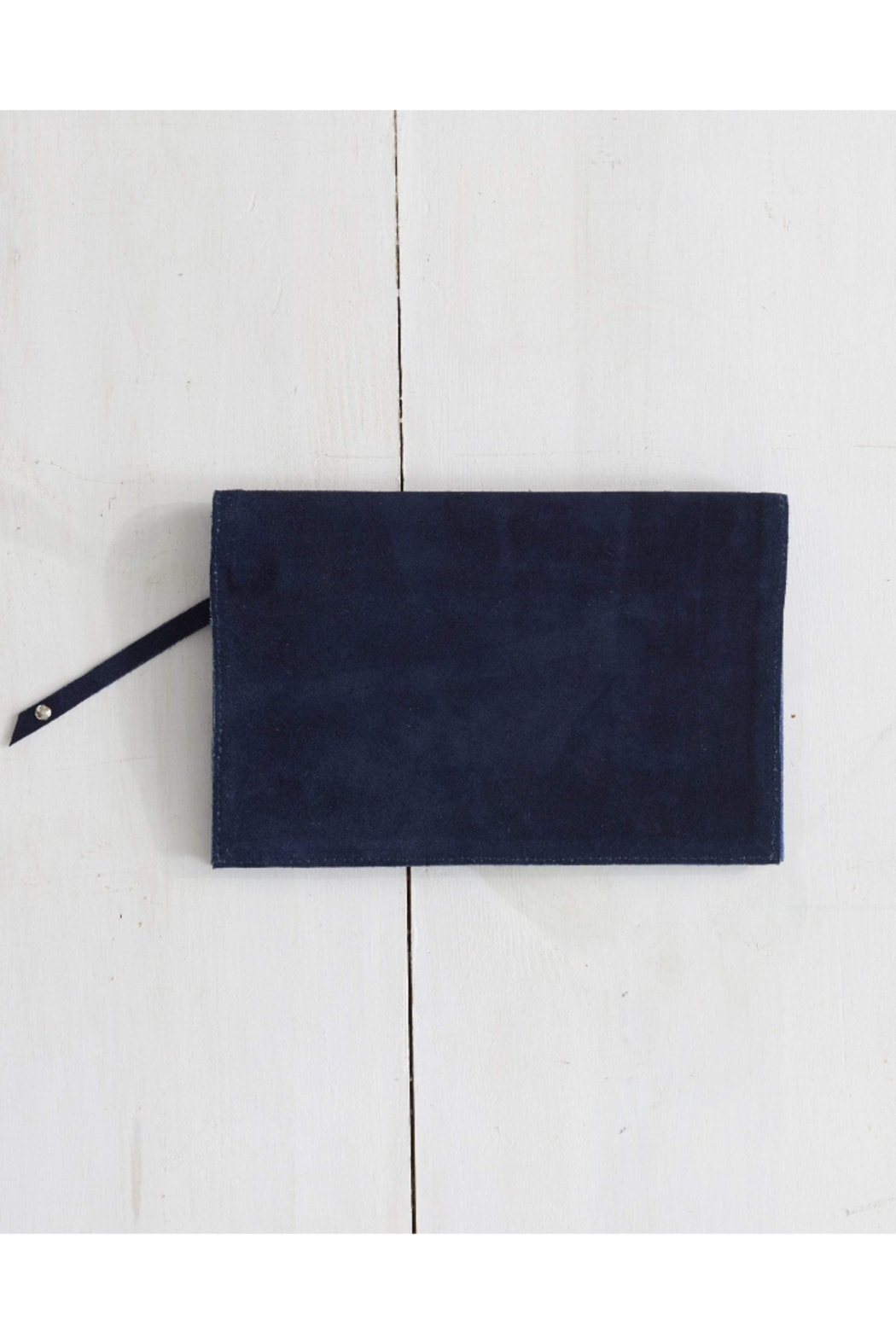 The Birds Nest Foldover Clutch - Navy Suede - Main Image