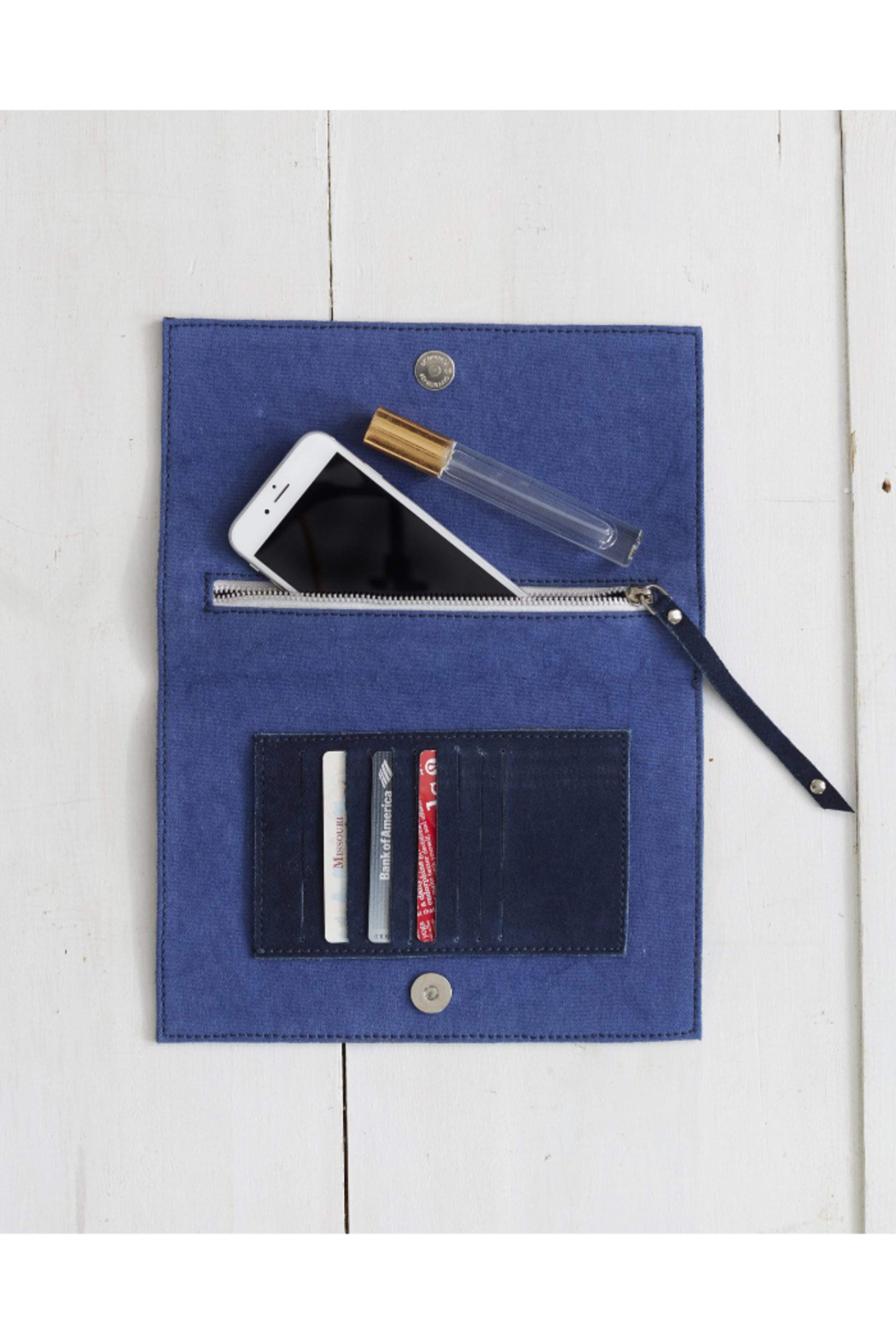 The Birds Nest Foldover Clutch - Navy Suede - Front Full Image
