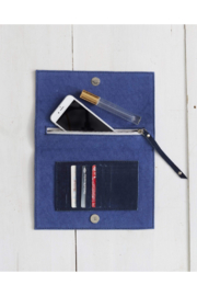 The Birds Nest Foldover Clutch - Navy Suede - Front full body