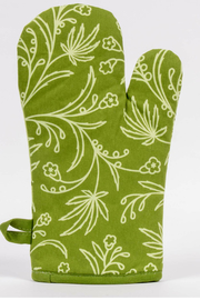 Blue Q Food has weed in it oven mitt - Front full body