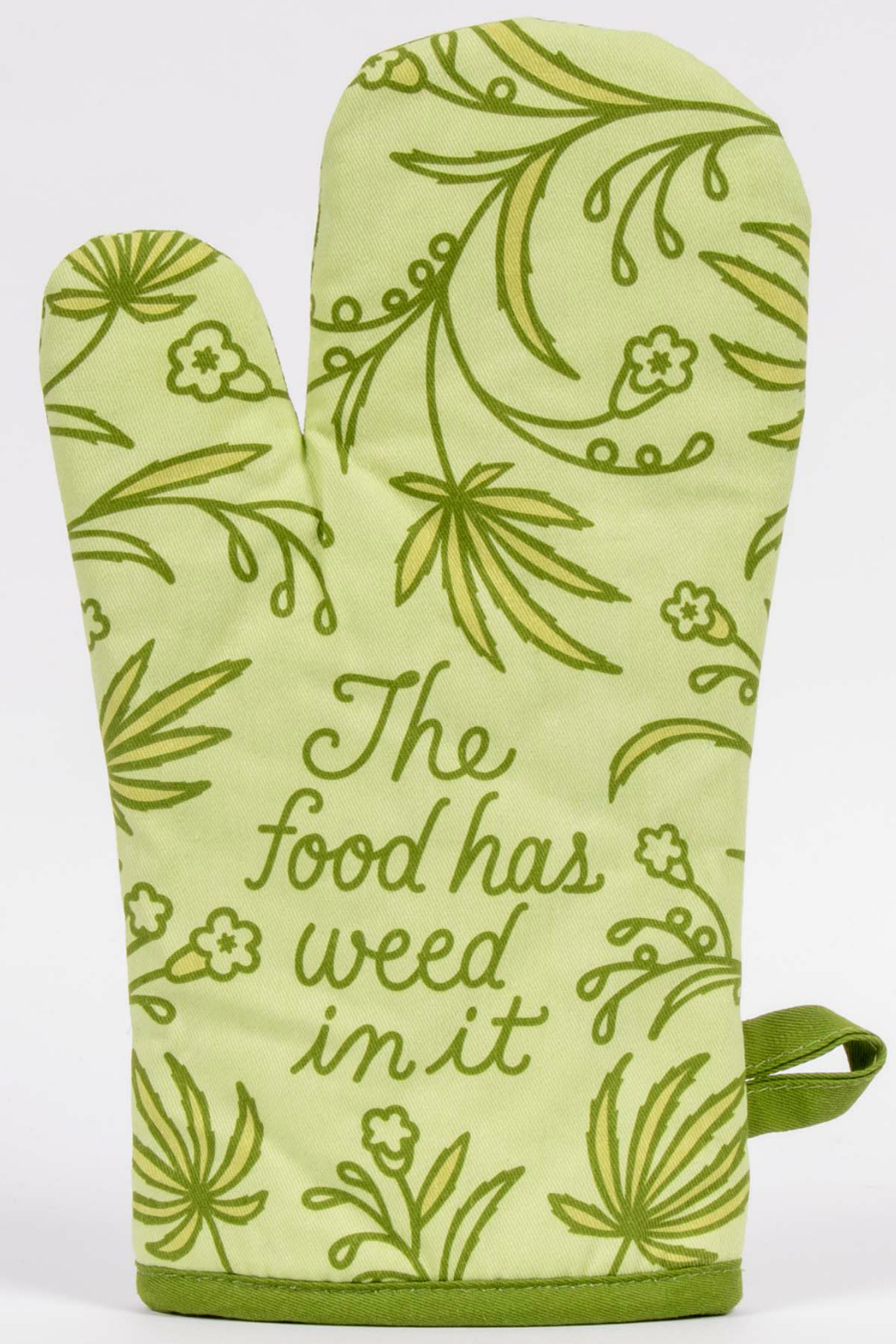 Blue Q Food has weed in it oven mitt - Main Image