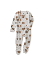 Tea Collection  Footed Baby Romper - Beary Cute - Product Mini Image