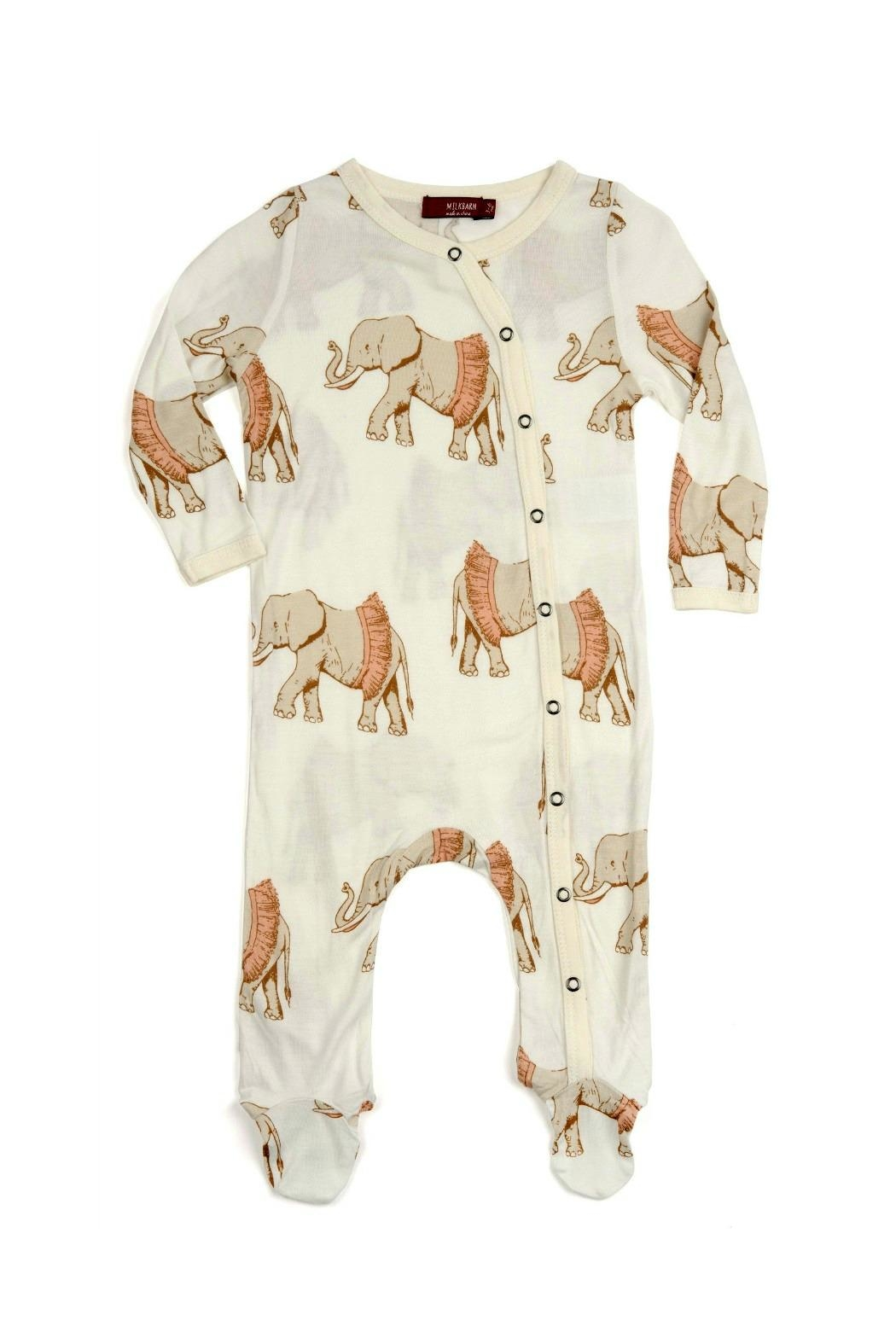 Milkbarn Kids Footed Romper Elephant-Wearing-A-Tutu - Front Cropped Image