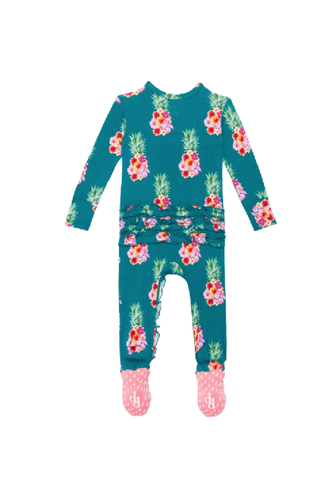 Posh Peanut Ananans Footie Ruffled One Piece - Back Cropped Image