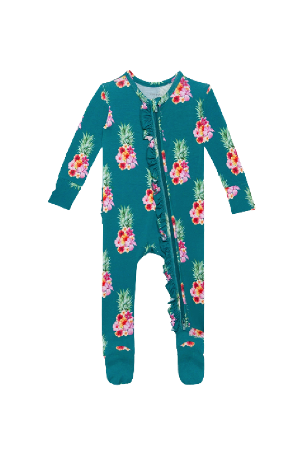 Posh Peanut Ananans Footie Ruffled One Piece - Front Full Image
