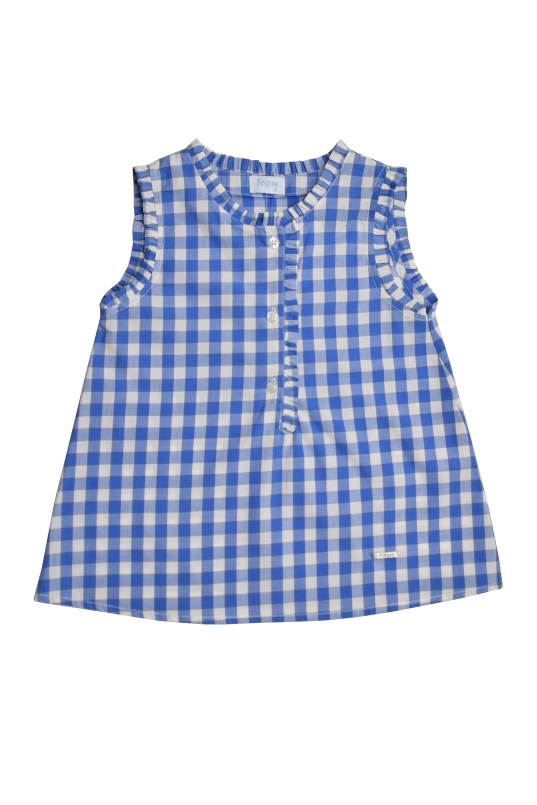 Foque Blue Gingham Tank - Front Cropped Image