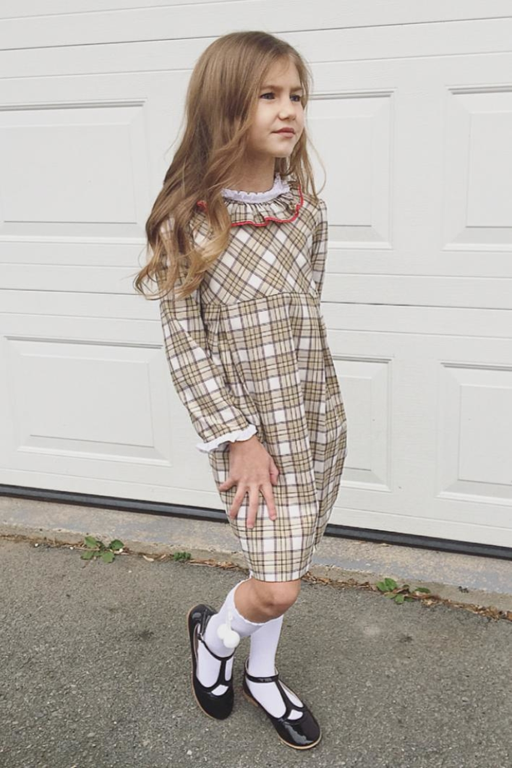 Foque Scottish Tartan Dress - Front Cropped Image