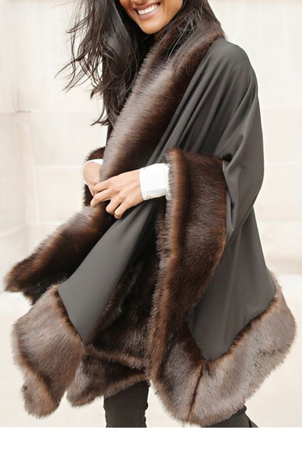 Fabulous Furs Faux Fur Trimmed Shawl - Side Cropped Image