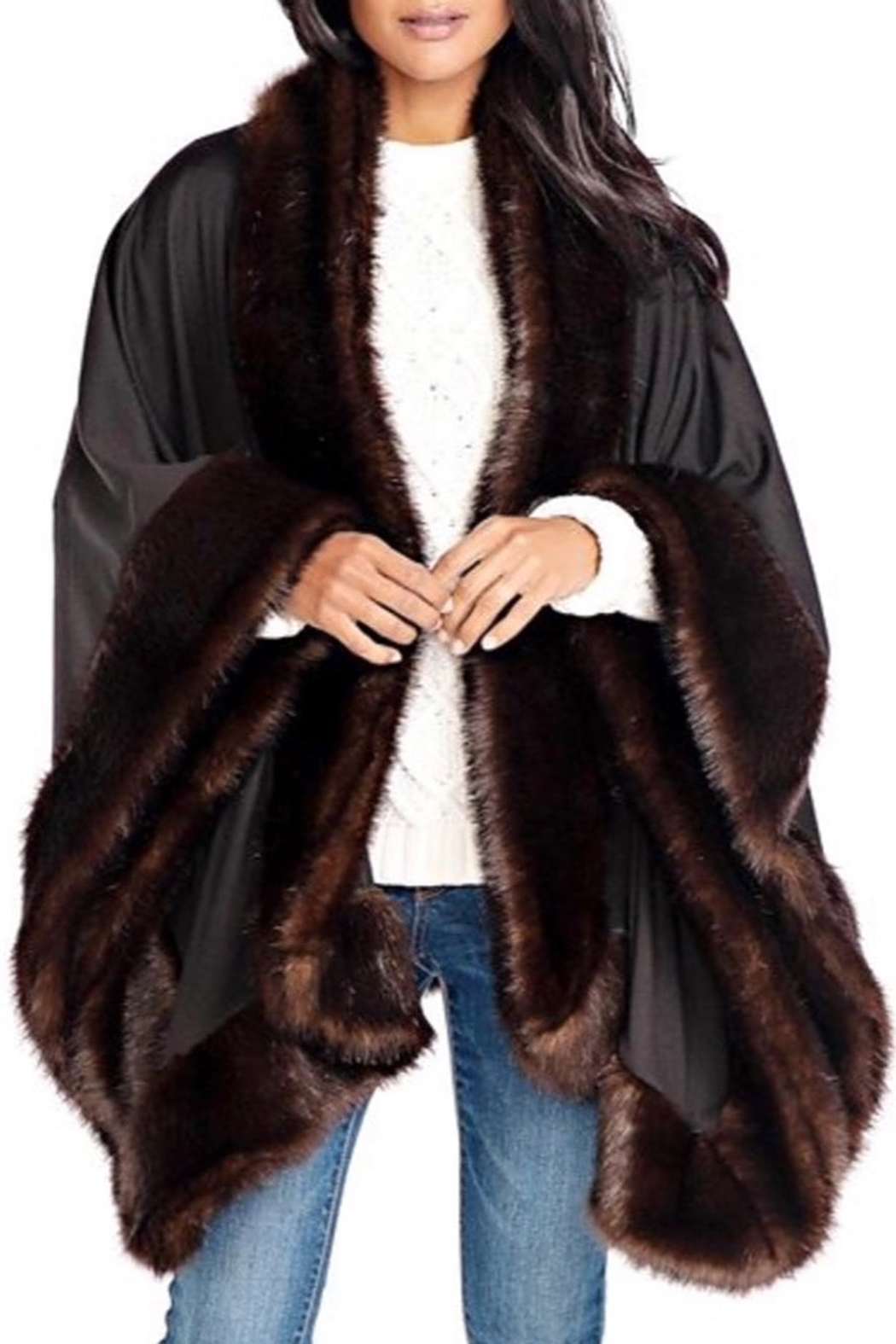 Fabulous Furs Faux Fur Trimmed Shawl - Front Cropped Image