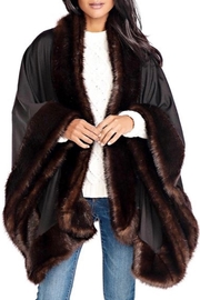 Fabulous Furs Faux Fur Trimmed Shawl - Front cropped
