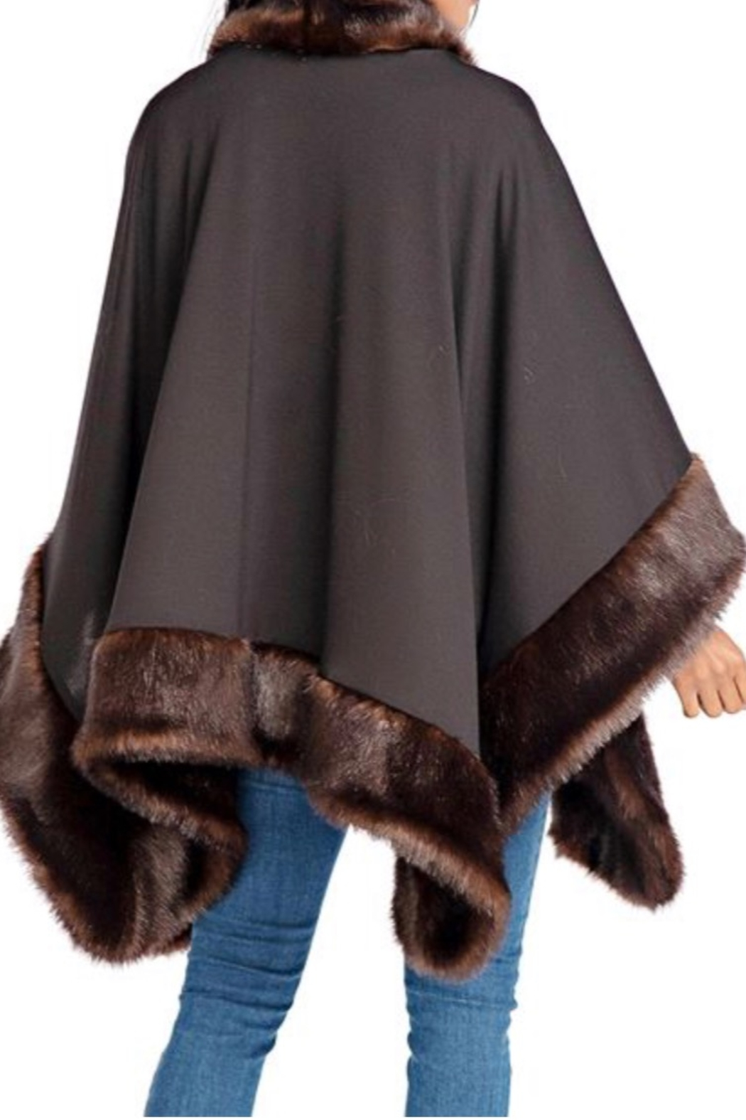 Fabulous Furs Faux Fur Trimmed Shawl - Front Full Image