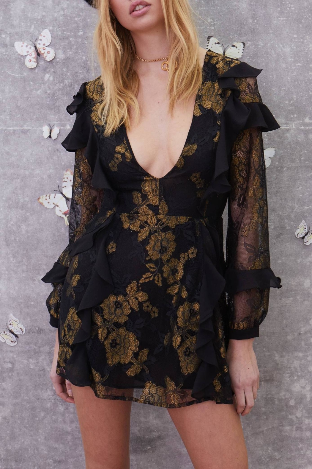 FOR LOVE & LEMONS Bumble Ruffle Dress - Main Image