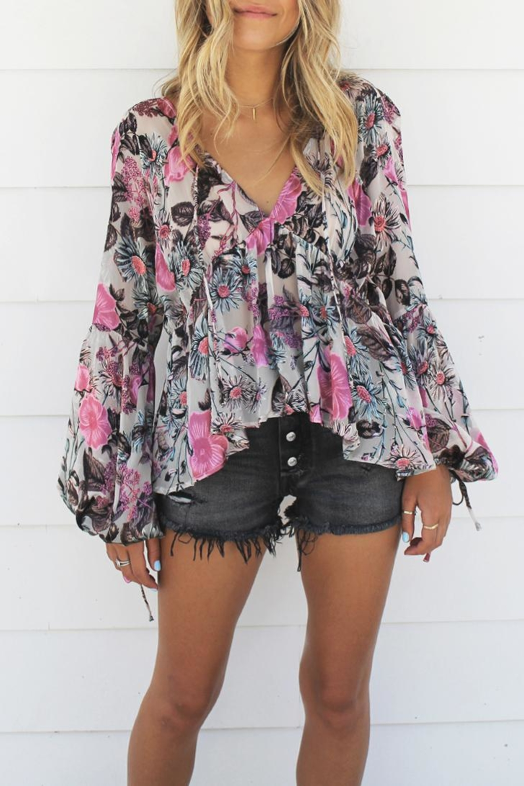 FOR LOVE & LEMONS Burnout Cadence Blouse - Main Image