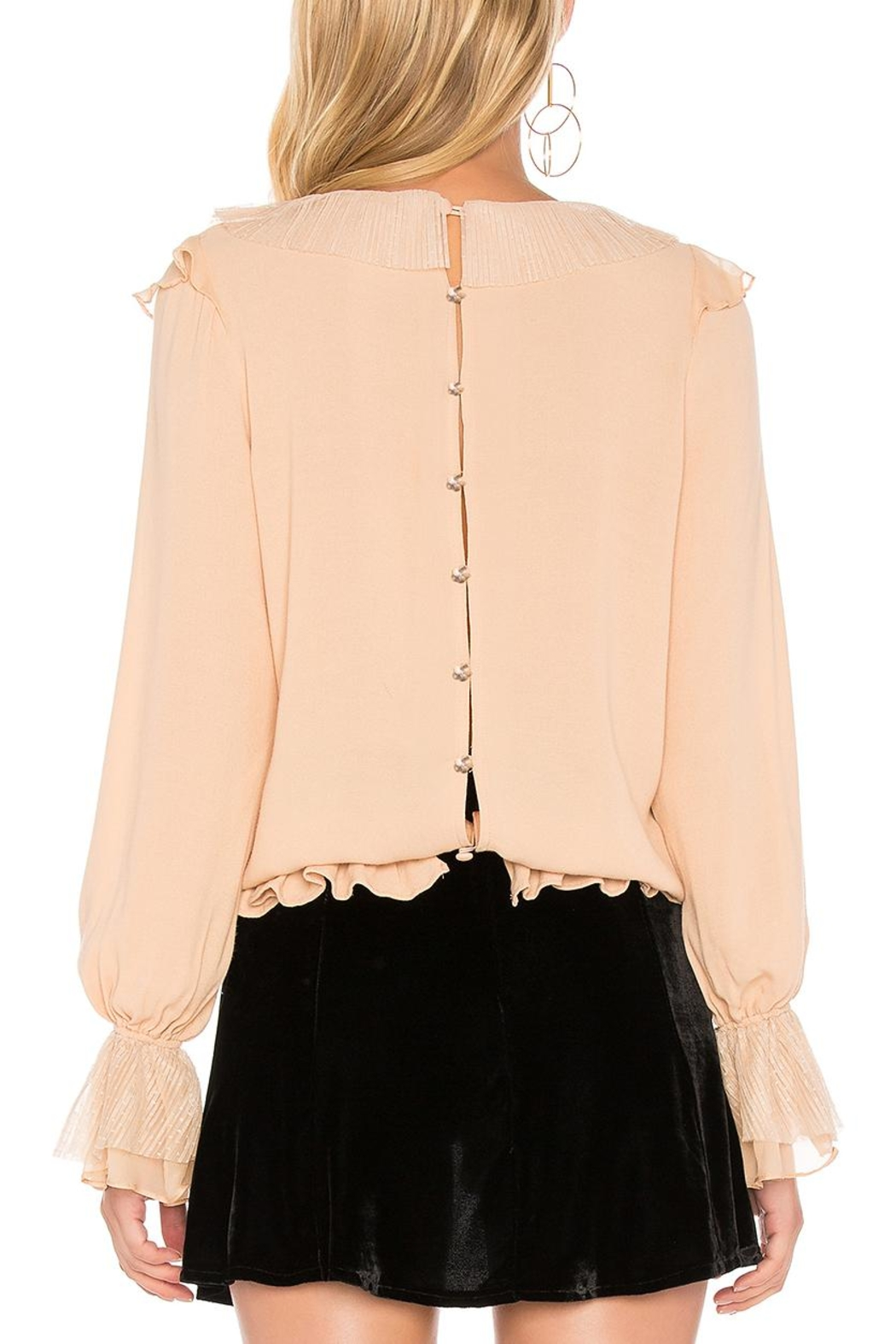 FOR LOVE & LEMONS Evie Button Ruffle-Blouse - Side Cropped Image