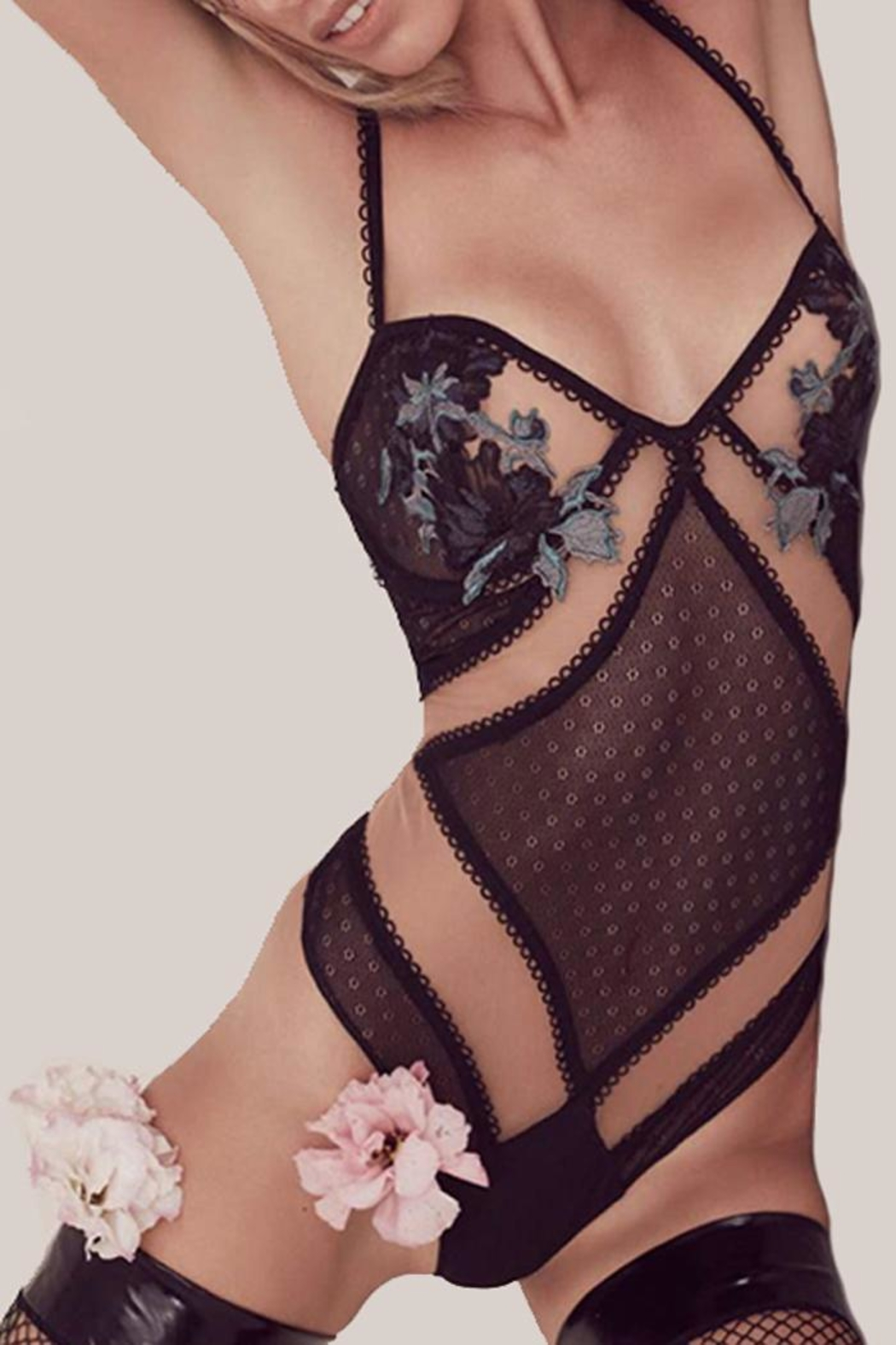 FOR LOVE & LEMONS Florette Appliqué Bodysuit - Front Cropped Image