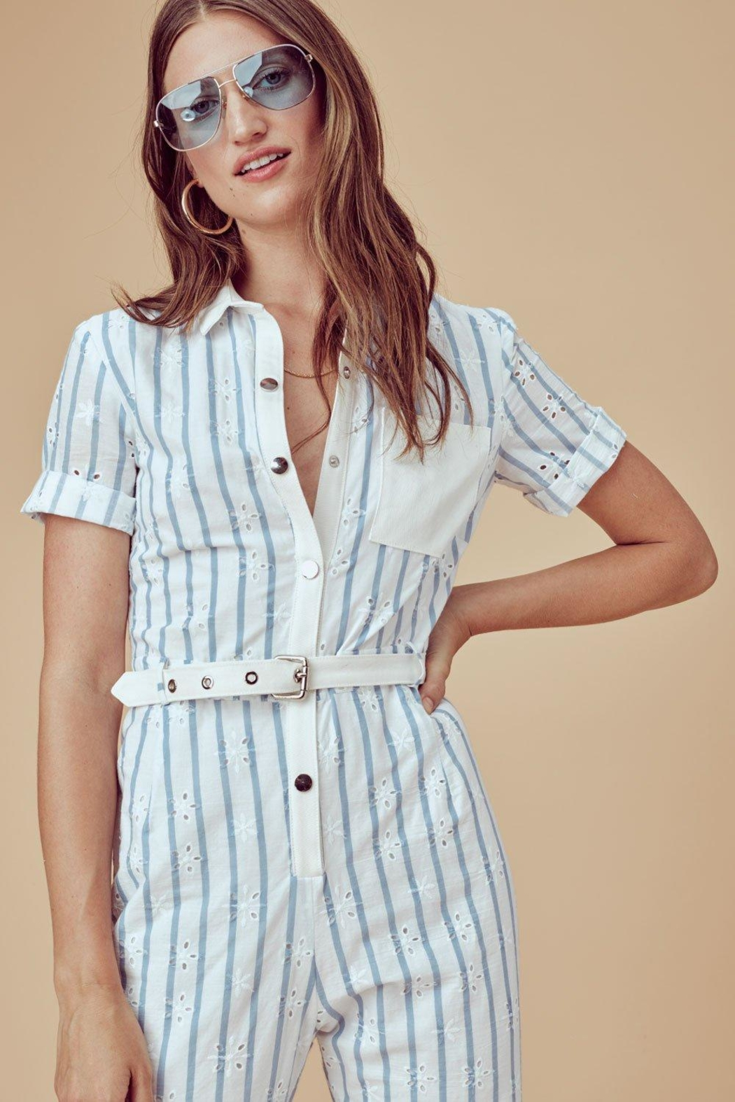 FOR LOVE & LEMONS Hermosa Striped Jumpsuit - Side Cropped Image