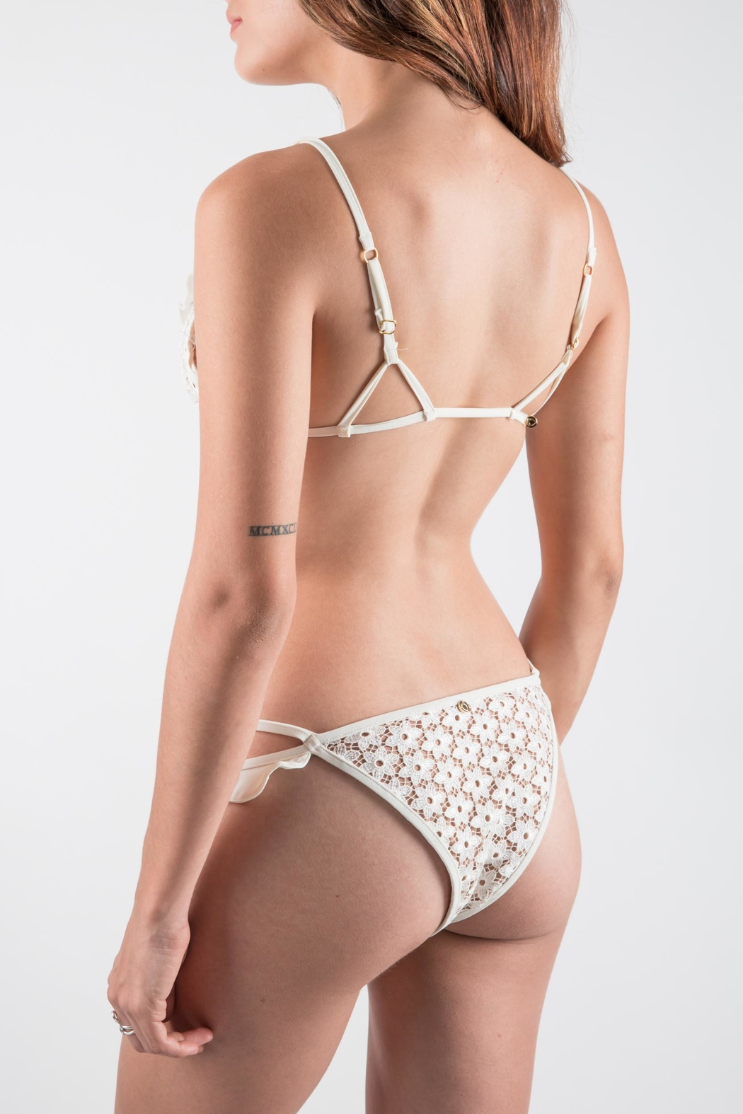 FOR LOVE & LEMONS Ivory Bikini Set - Back Cropped Image