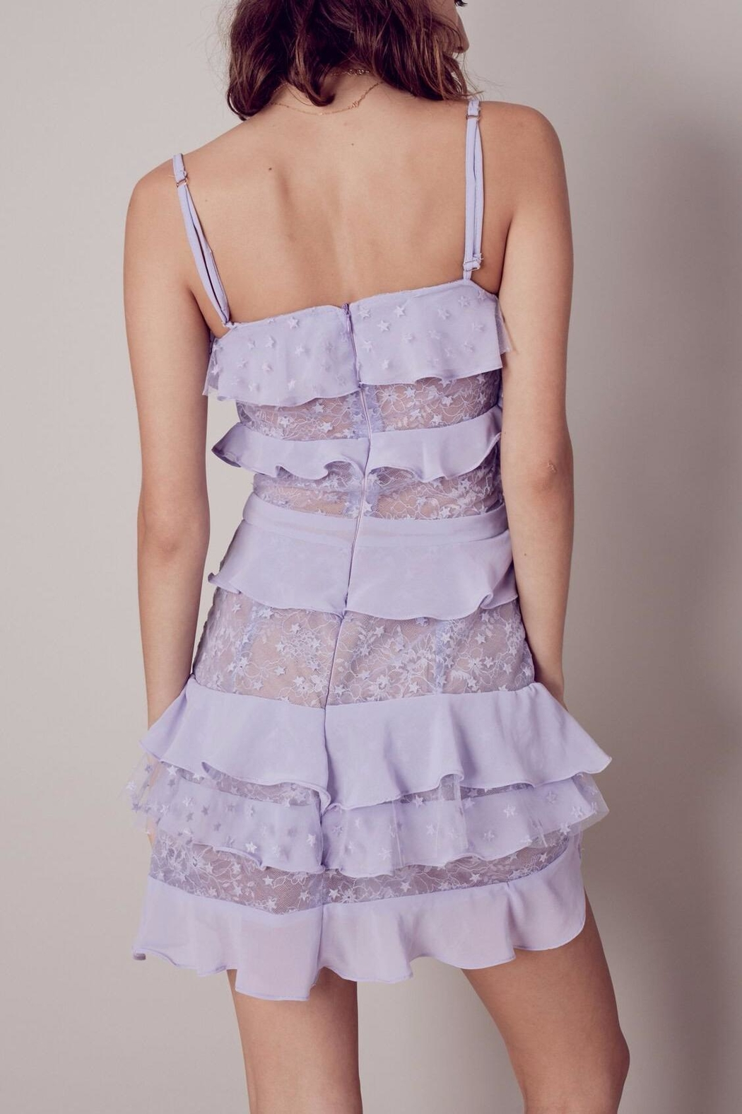 FOR LOVE & LEMONS Lilac Cosmic Tiered Lace - Front Full Image